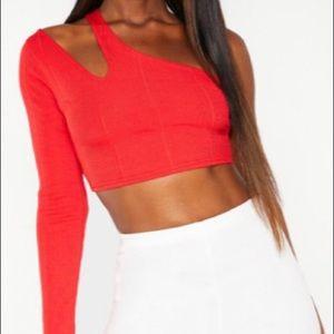 Red one shoulder crop top